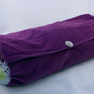 Lavender and buckwheat-filled neck roll pillow - night owl and velvet pattern