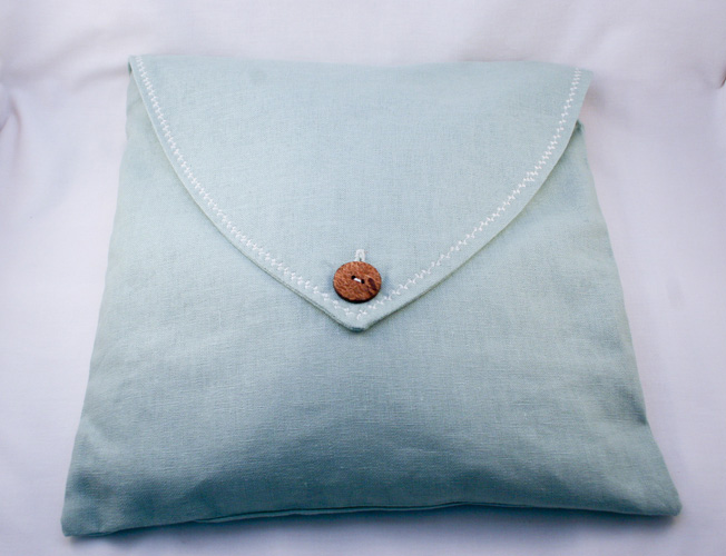 Our Sea Breeze Square Lavender Pillow stuffed with lavender and buckwheat hull