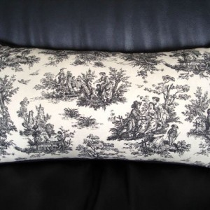 Lavender and kapok-filled rectangular accent pillow - black toile