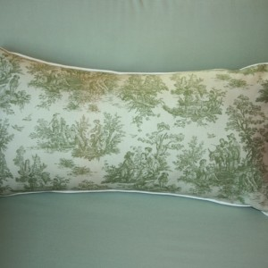 Lavender and Kapok-filled accent pillow - sage toile
