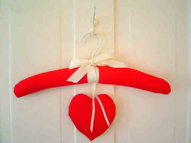 Solid Red Padded Hanger with Lavender Sachet