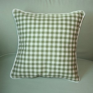 Lavender and kapok-filled pillow. Sage and cream checkered pattern.