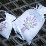 Embroidered Lavender Drawstring Bags