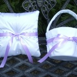Jewels and Ribbon Ring Bearer's Pillow and Flower Girl Basket