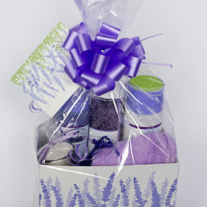 Close up shot of Lavender bath gift basket