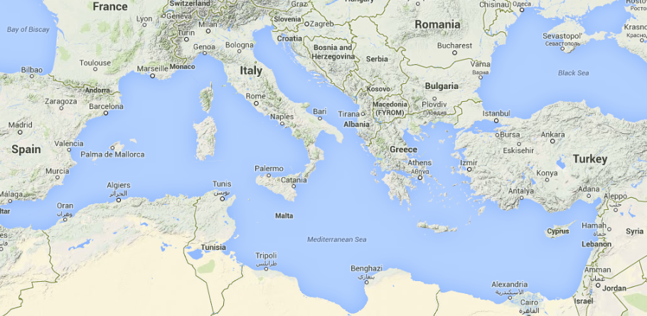 map of the Mediterranean region